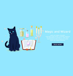 magic and wizard collection items to cast a vector image