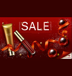 mascara and lip gloss christmas cosmetics gifts vector image