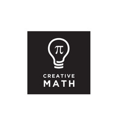 Math pi creative light bulb mathematics logo vector