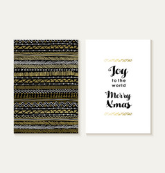 Merry christmas joy card set pattern gold tribal vector