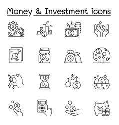 Money investment icons set in thin line style vector