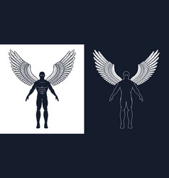 Muscular man with wings is like a superhero vector