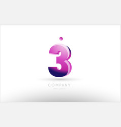 number 3 three black white pink logo icon design vector image