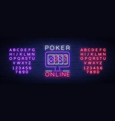 Online poker is a neon sign logo symbol in neon vector