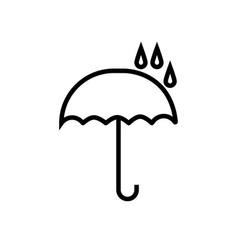 opened umbrella icon under raindrops vector image
