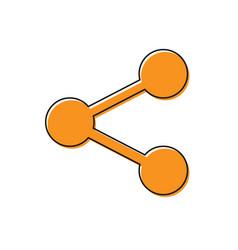 Orange share icon isolated on white background vector