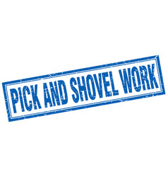 Pick and shovel work square stamp vector