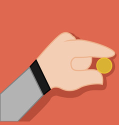 picking money coin hand gesture graphic vector image