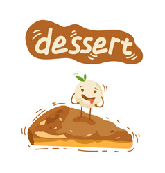 piece of cheesecake cute characters creamy vector image