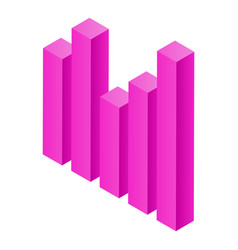 Pink graph icon isometric style vector