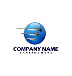 planet logo orbit and satellite logo vector image