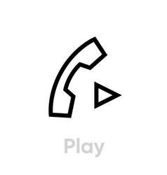 play call icon editable line vector image