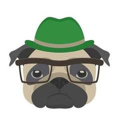 Portrait of pug dog with glasses and hat in flat vector image