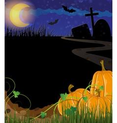 Pumpkins on a cemetery vector