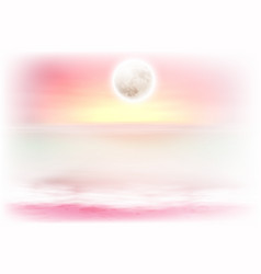 Purple beach with full moon at night vector