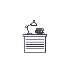 Reading desk line icon sign vector