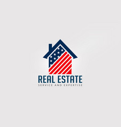 real estate american house red and blue logo vector image