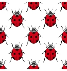 Red ladybugs vintage seamless pattern vector image