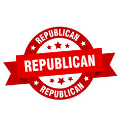 republican ribbon republican round red sign vector image