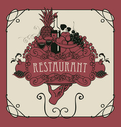 Restaurant menu with hand tray and still life vector
