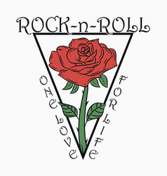 Rock and roll print with rose vector