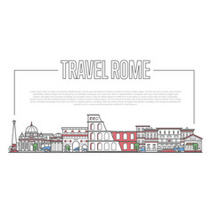 Rome landmark panorama in linear style vector