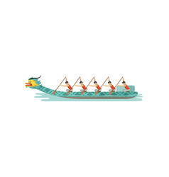 Rowing team competing in the traditional dragon vector