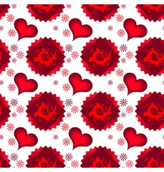 Seamless red dark and light hearts vector