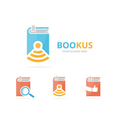 Set of book logo combination novel and signal vector