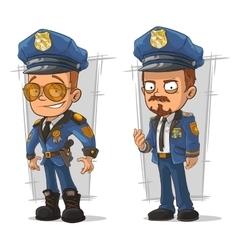 Set of cartoon cops in blue uniform vector image
