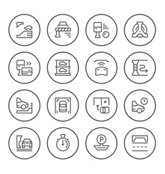 set round line icons parking vector image