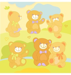 Set teddy bears in rznyh poses on the nature vector image