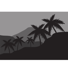 Silhouettes of palm on the hills vector