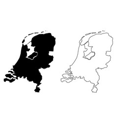 Simple only sharp corners map netherlands vector