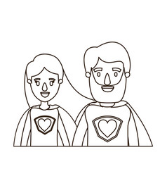 Sketch contour caricature half body couple female vector