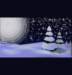 snowy landscape with spruces and moon vector image