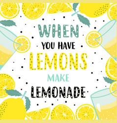 summer lemon time card frame with lemon on white vector image