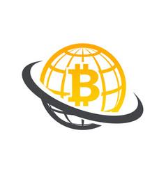 Swoosh globe bitcoin logo icon vector