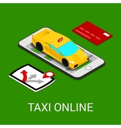 Taxi Service Mobile Application Isometric Car vector image
