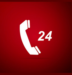 telephone 24 hours support icon on red background vector image