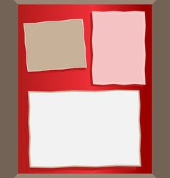 Three different paper notes on red board vector