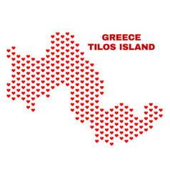 tilos island map - mosaic of heart hearts vector image
