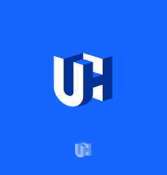 u and h letters 3d blue emblem vector image