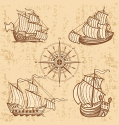 vintage ships collection antique travel boat set vector image