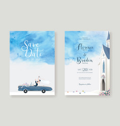 wedding cards invitation save date template vector image