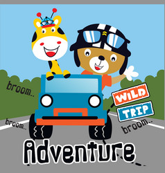 wild trip adventure animal cartoon vector image