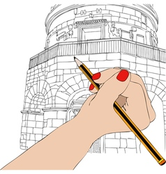 Woman draws the Mausoleum of Theodoric in Ravenna vector