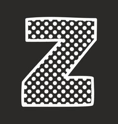 Z alphabet letter with white polka dots on black vector