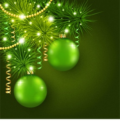 Christmas tree decorated with green balls vector image