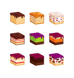 flat design cake flavour slices vector image vector image